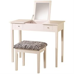 Coaster Lift Top Vanity Set with Upholstered Stool in White
