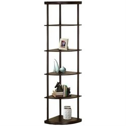 Coaster Corner Bookshelf with 5 Shelves in Cappuccino