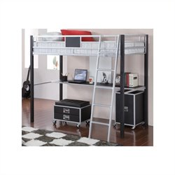 Coaster LeClair Twin Loft Bed with Desk in Black and Silver