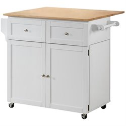Coaster Kitchen Cart with Trash Compartment in White