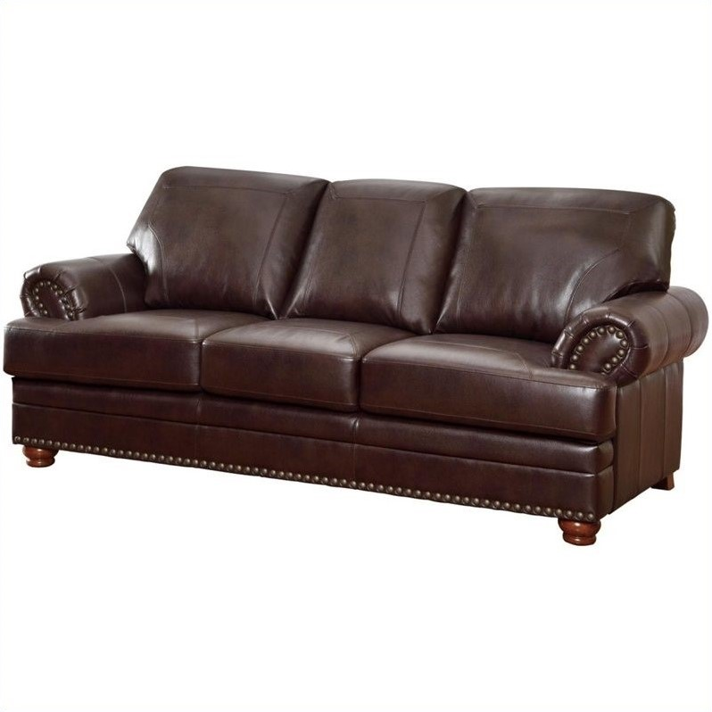 Coaster Colton Leather Sofa In Brown 504411