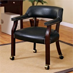 Coaster Upholstered Arm Guest Chair with Nailhead Trim in Black