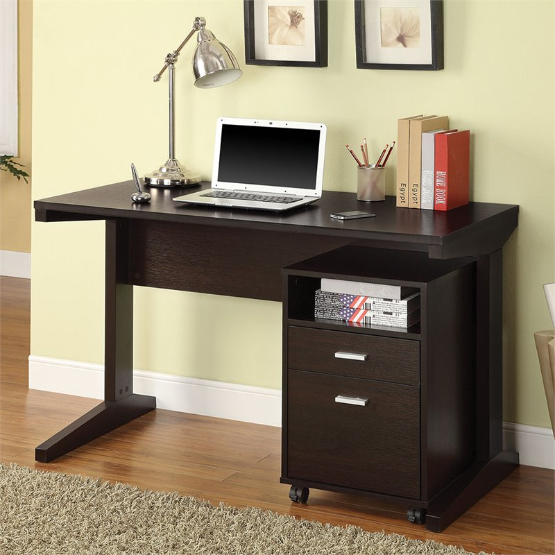 Coaster 2 Piece Desk Set With Rolling File Cabinet In