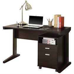 Coaster 2 Piece Desk Set with Rolling File Cabinet in Cappuccino
