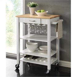 Coaster Kitchen Cart with Butcher Block Top in White and Natural