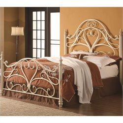 Coaster Queen Ornate Spindle Headboard and Footboard in Egg Shell