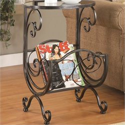 Coaster Metal and Glass Side Table with Magazine Rack in Gun Metal