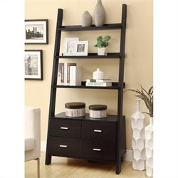 Coaster Leaning Ladder Bookshelf with 2 Drawers in Cappuccino