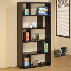 Coaster Contemporary Bookshelf with 10 Compartments in Cappuccino