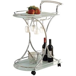 Coaster Serving Cart with 2 Frosted Glass Shelves in Light Chrome