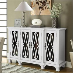 Coaster Console Table with Glass Doors in White