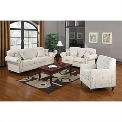 Coaster Norah 3 Piece Antique Inspired Sofa Set in Oatmeal Cream