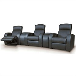 Coaster Cyrus Leather Theater Seating with Wedge Consoles in Black