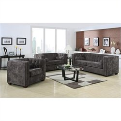 Coaster Alexis 3 Piece Sofa Set in Charcoal