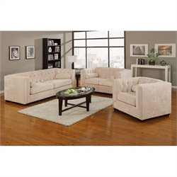 Coaster Alexis 3 Piece Sofa Set in Almond