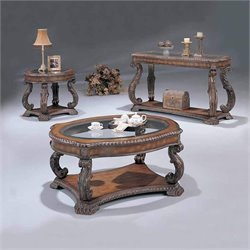 Coaster Traditional 3 Piece Table Set in Brown