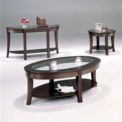 Coaster 3 Piece Occasional Glass Top Table Set in Cappuccino