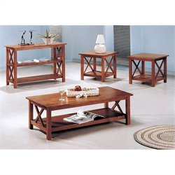 Coaster 4 Piece Casual Occasional Table Set in Brown