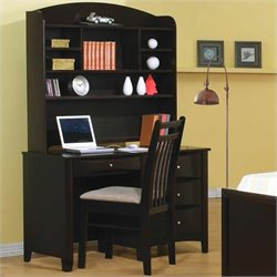 Coaster Phoenix Single Pedestal Computer Desk and Hutch in Cappuccino