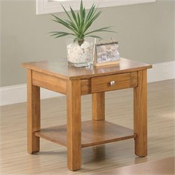 Coaster Occasional Group End Table with Drawer and Base Shelf in Oak