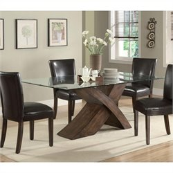 Coaster Nessa Large Scaled X Base Dining Table in Deep Brown