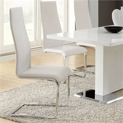 Coaster Modern Dining Faux Leather Dining Chair in White