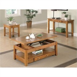 Coaster 3 Piece Occasional Table Set in Oak