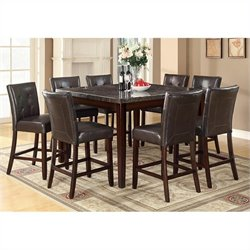 Coaster Milton 9 Piece Counter Height Table Set in Cappuccino