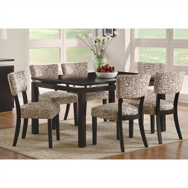 Coaster Libby 7 Piece Table and Side Chairs Set in Cappuccino