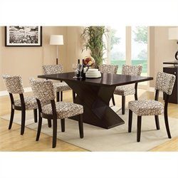 Coaster Libby 7 Piece Hourglass Table and Chair Set in Cappuccino