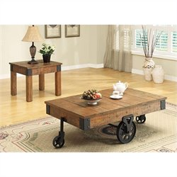 Coaster Country Wagon 2 Piece Coffee and End Table Set in Brown