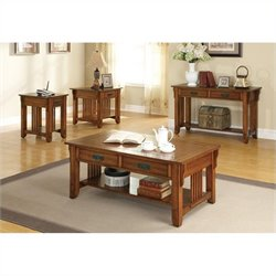 Coaster Contemporary 4 Piece Occasional Table Set in Oak