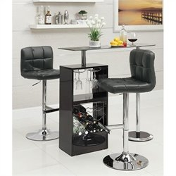 Coaster Bar Table with 2 Adjustable Stools in Black