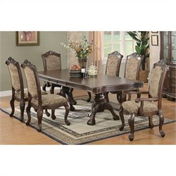 Coaster Andrea 7 Piece Dining Table and Chair Set in Brown Cherry