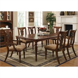Coaster Addison 7 Piece Dining Set with Upholstered Chairs in Cherry