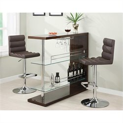 Coaster 3 Piece Bar Table Set in Cappuccino