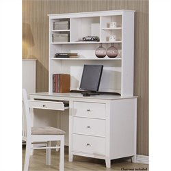 Coaster Selena Computer Desk and Hutch in White