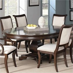Coaster Harris Single Pedestal Dining Table in Deep Cherry