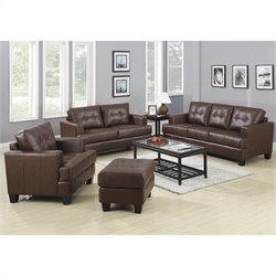 Coaster Samuel 3 Piece Faux Leather Sofa Set in Dark Brown