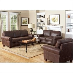 Coaster Bentley 3 Piece Rustic Styled Microfiber Sofa Set in Brown