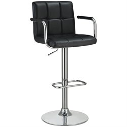 Coaster Adjustable Bar Stool in Black and Chrome