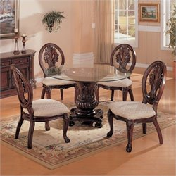 Coaster Tabitha 5 Piece Round Dining Set in Dark Cherry