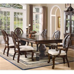 Coaster Tabitha 7 Piece Rectangular Dining Set in Cherry