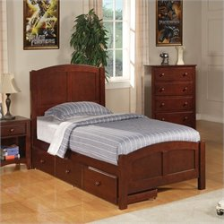 Coaster Parker Twin Panel Bed with Underbed Storage in Cappuccino