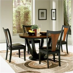 Coaster Boyer Round Dining Table in Black and Cherry