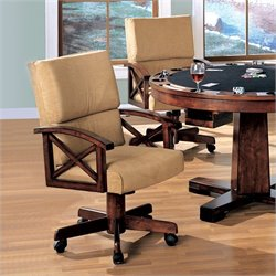 Coaster Marietta Upholstered Arm Game Chair with Casters in Dark Oak (Set of 2)