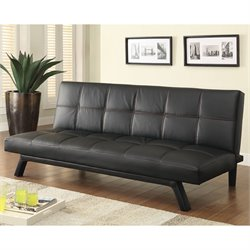 Coaster Faux Leather Convertible Sofa in Black