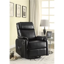 Coaster Leather Swivel Glider Recliner with Side Pocket