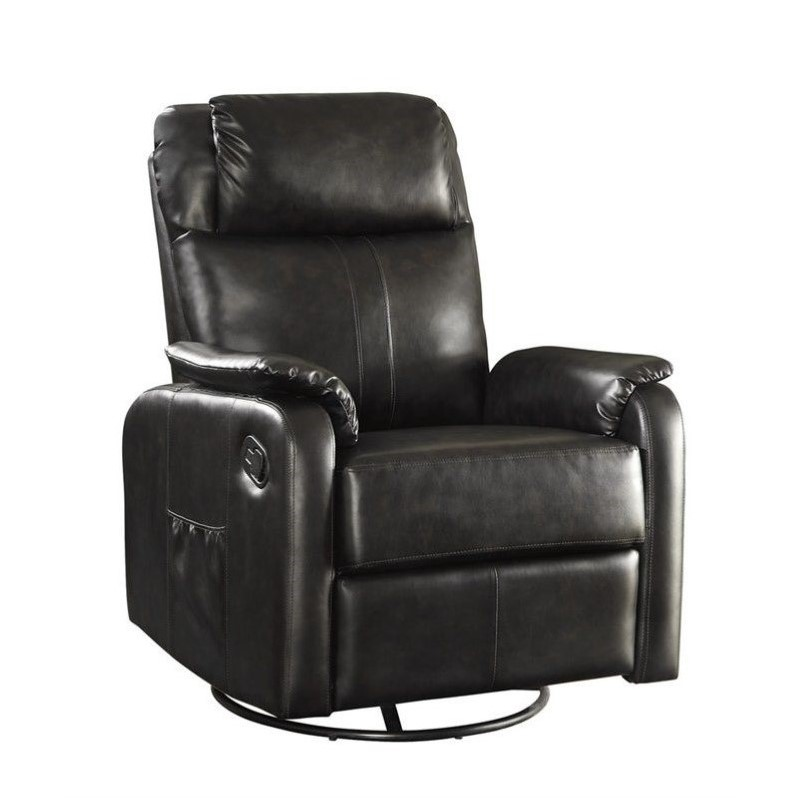 recliners coaster faux leather swivel glider recliner with side pocket