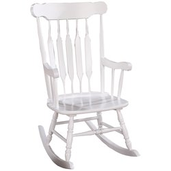 Coaster Slatted Back Rocking Chair in White